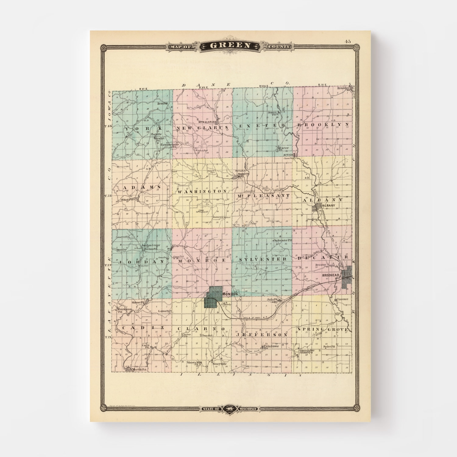 Vintage Map of Green County Wisconsin, 1878