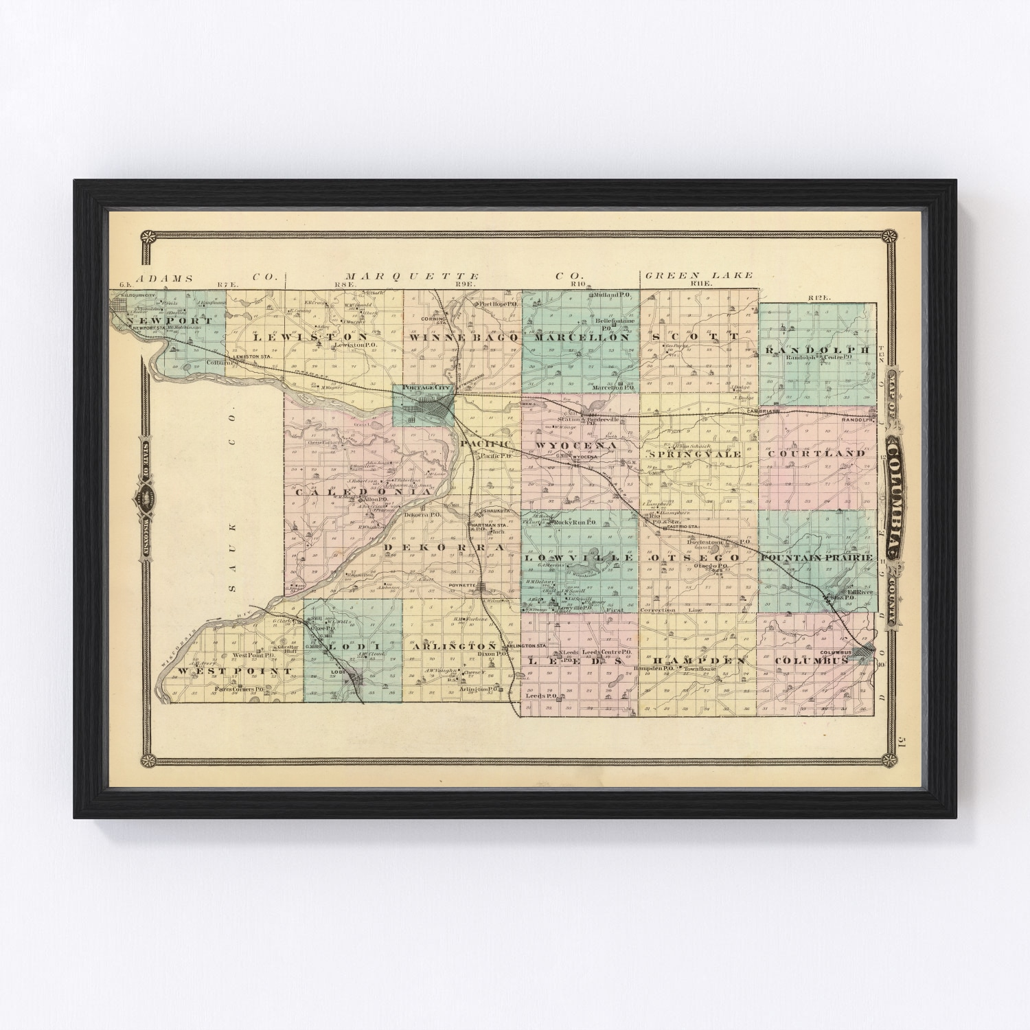 Vintage Map of Columbia County Wisconsin, 1878