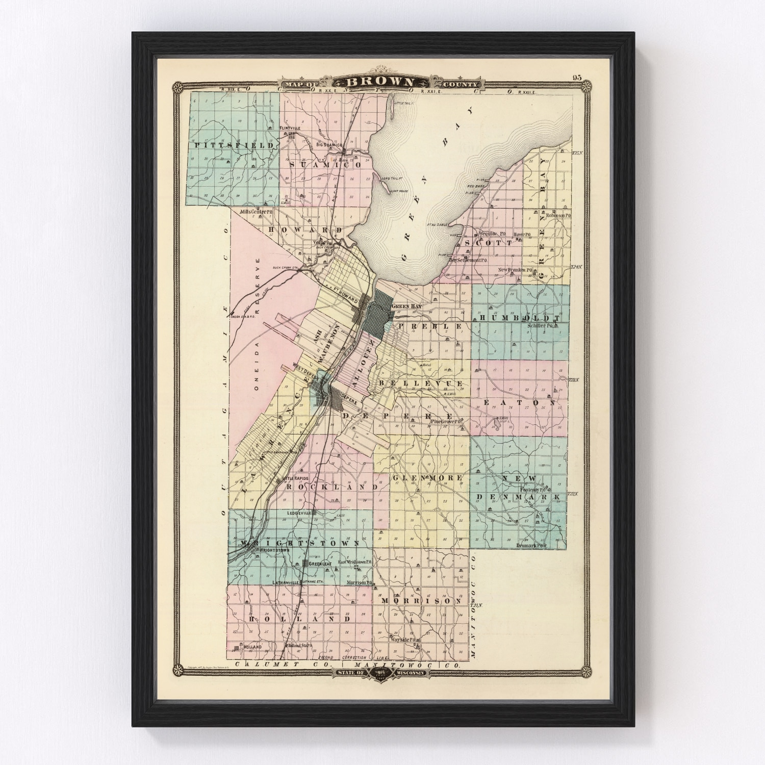 Vintage Map of Brown County Wisconsin, 1878