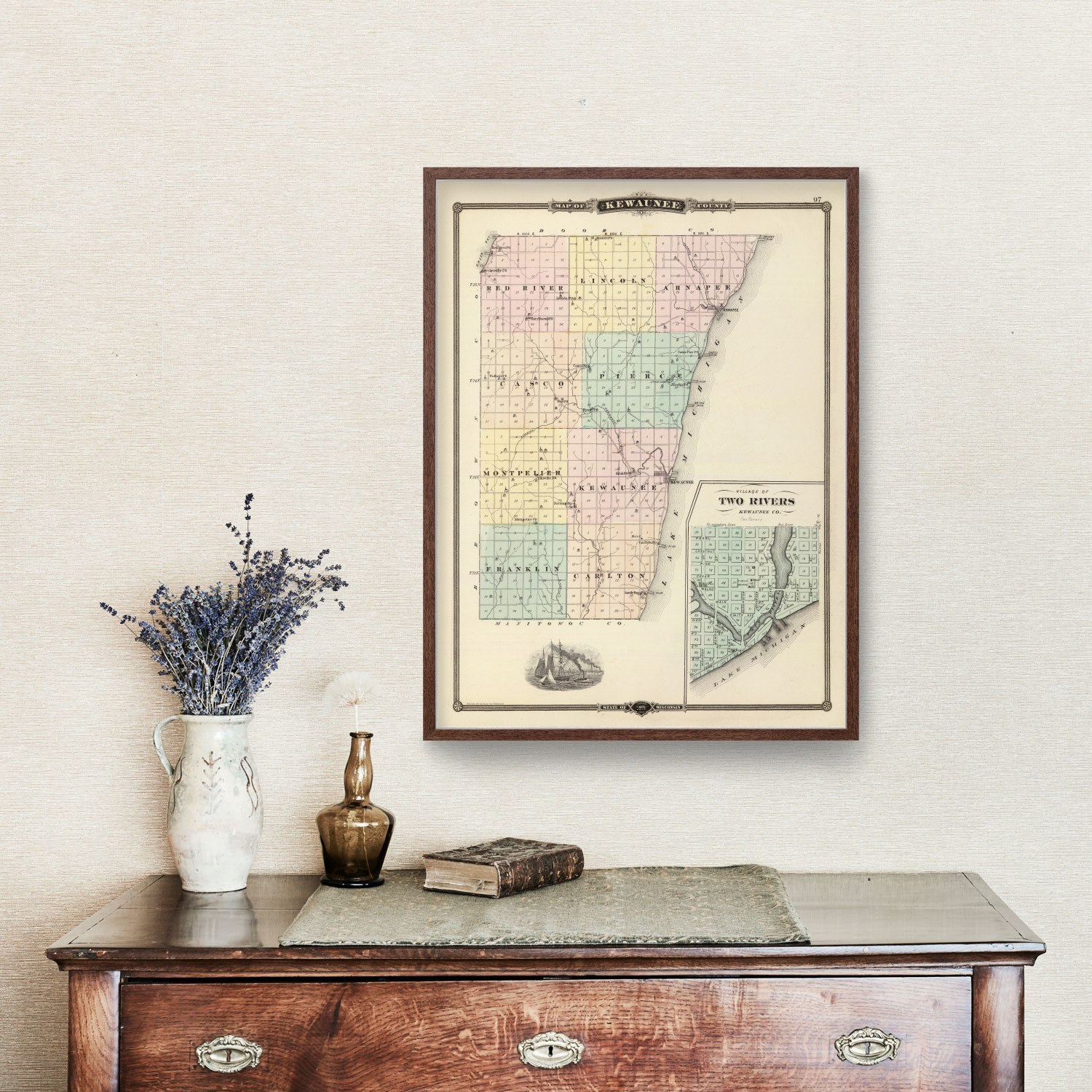 Vintage Map of Kewaunee County Wisconsin, 1878