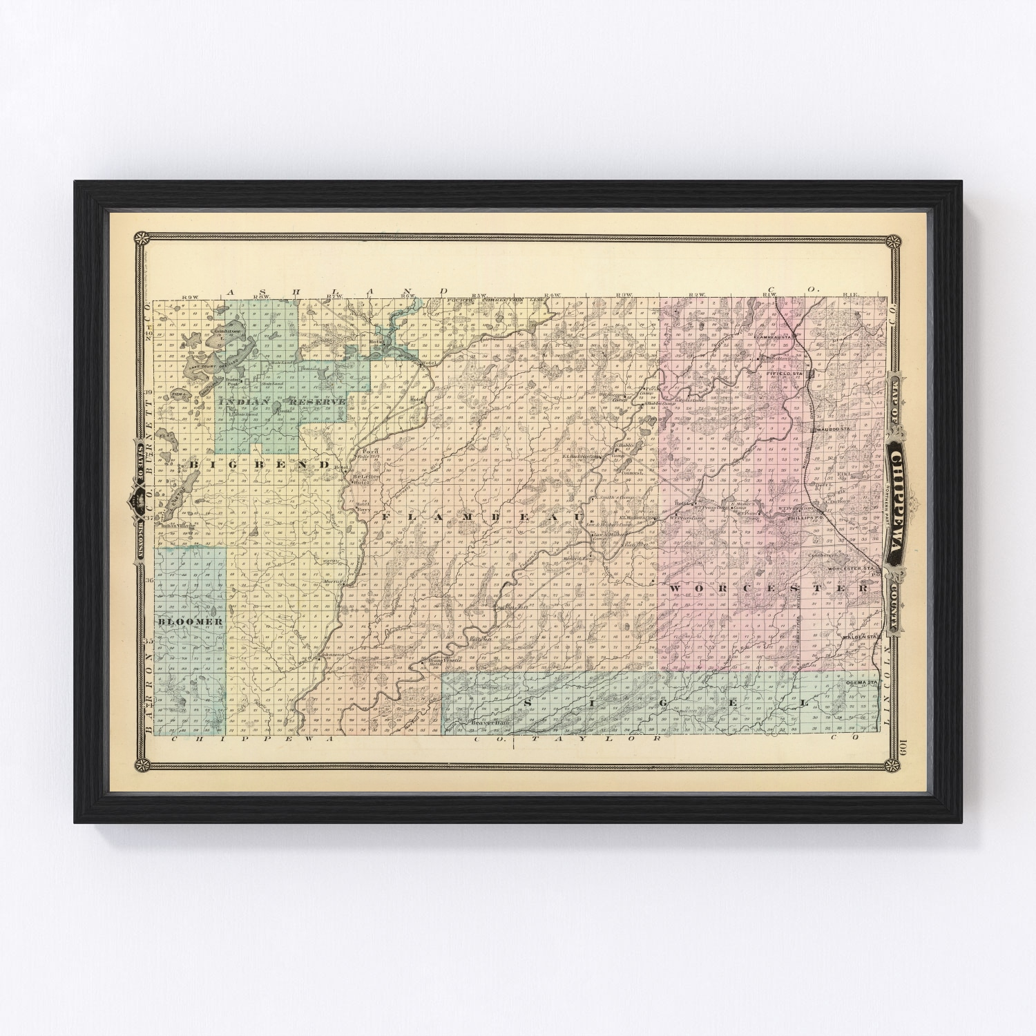 Vintage Map of Chippewa County Wisconsin, 1878