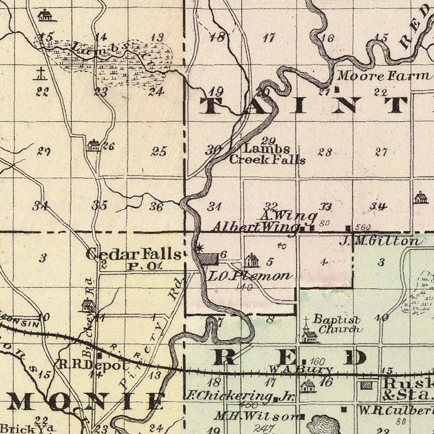 Vintage Map of Dunn County Wisconsin, 1878