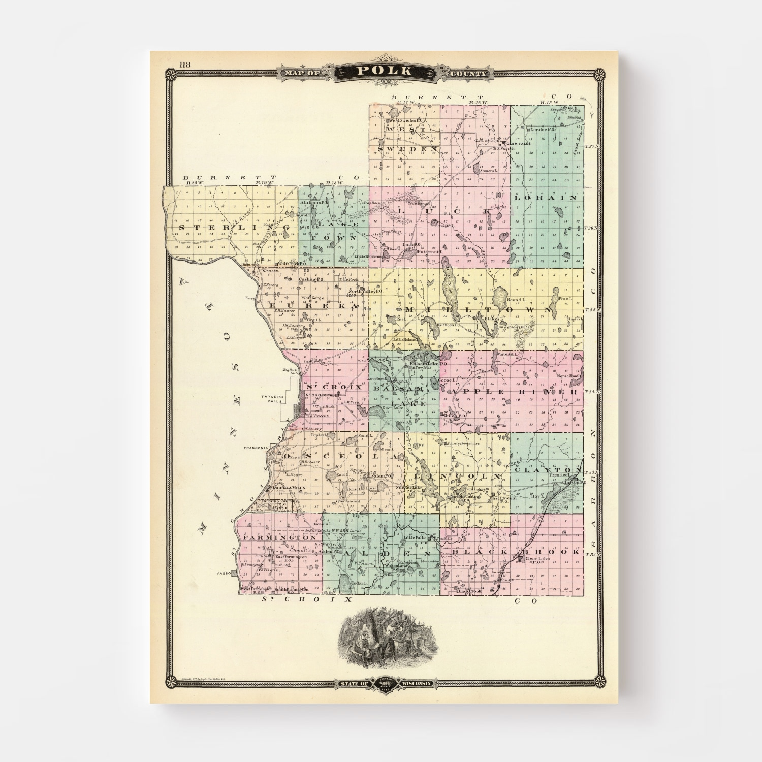 Vintage Map of Polk County Wisconsin, 1878