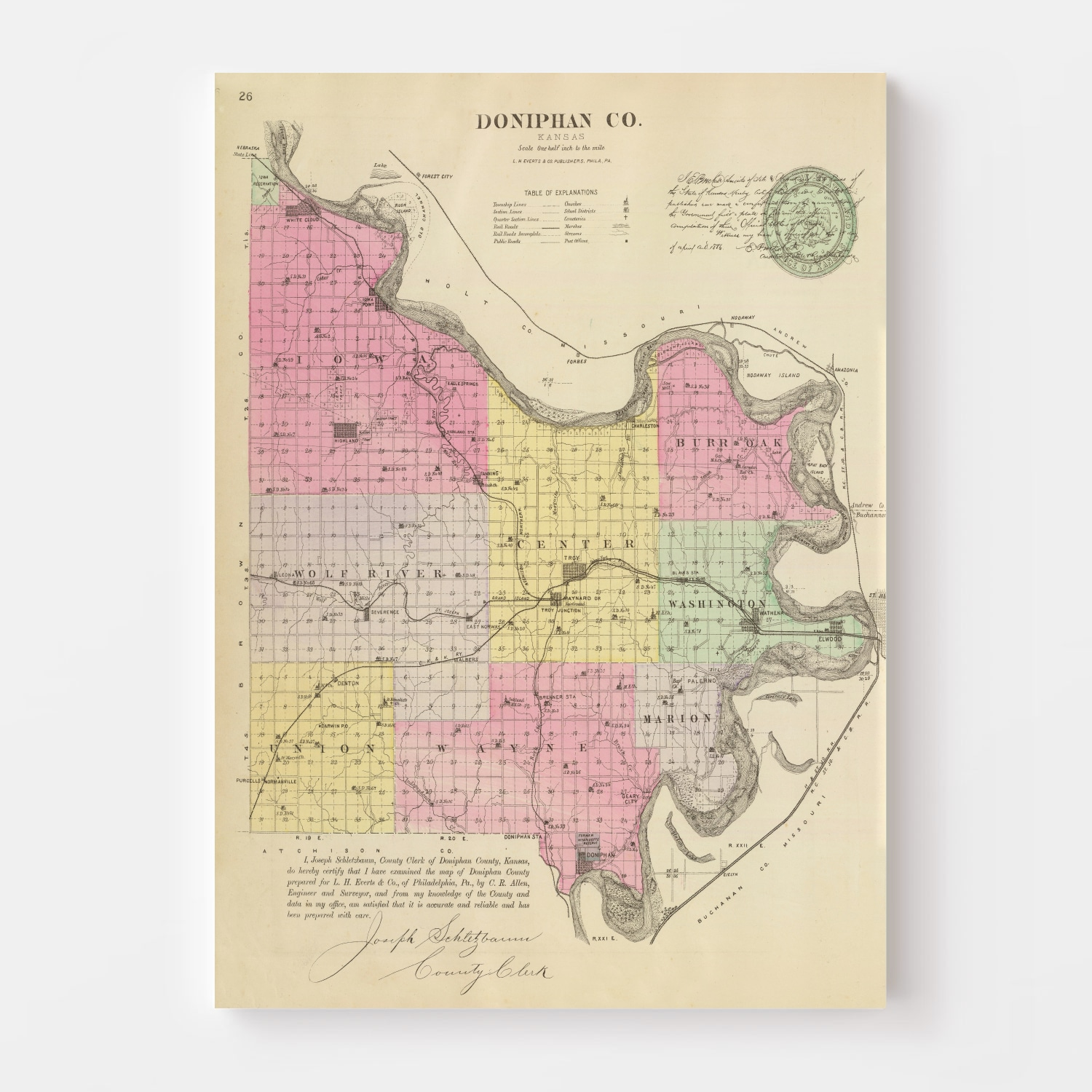 Vintage Map of Doniphan County Kansas, 1887