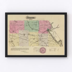 Vintage Map of Atchison County Kansas, 1887