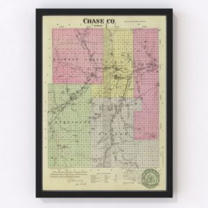 Vintage Map of Chase County Kansas, 1887