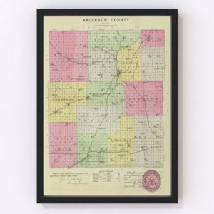 Vintage Map of Anderson County Kansas, 1887