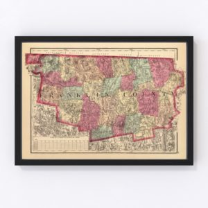 Vintage Map of Franklin County Massachusetts, 1871