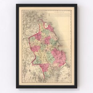 Vintage Map of Plymouth County Massachusetts, 1871