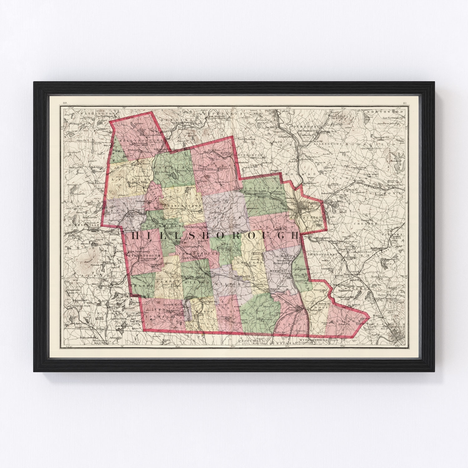 Vintage Map of Hillsborough County New Hampshire, 1877