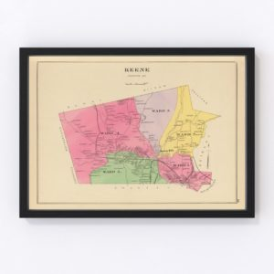 Vintage Map of Keene, New Hampshire 1892