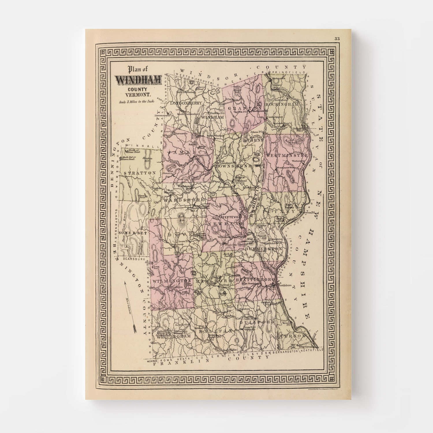 Vintage Map of Windham County Vermont, 1876