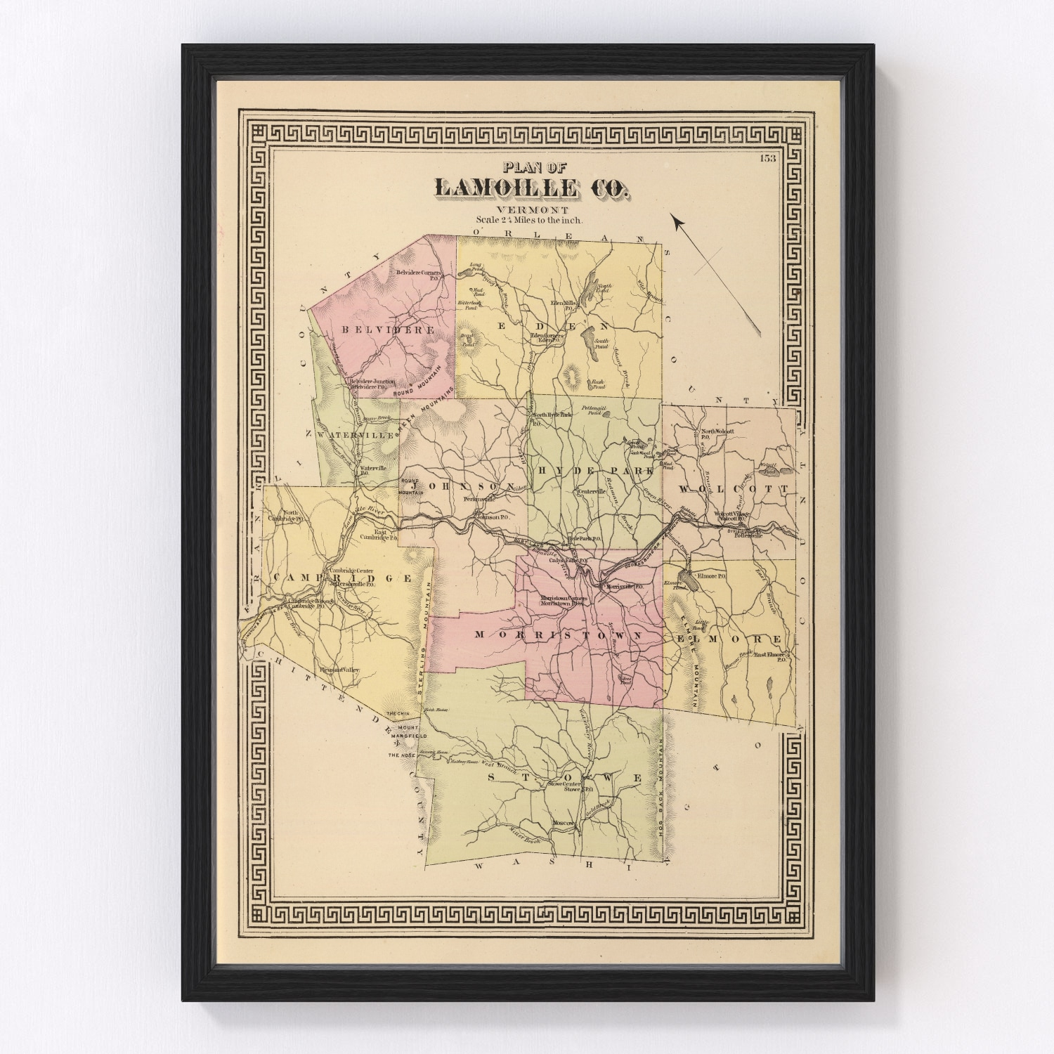 Vintage Map of Lamoille County Vermont, 1876