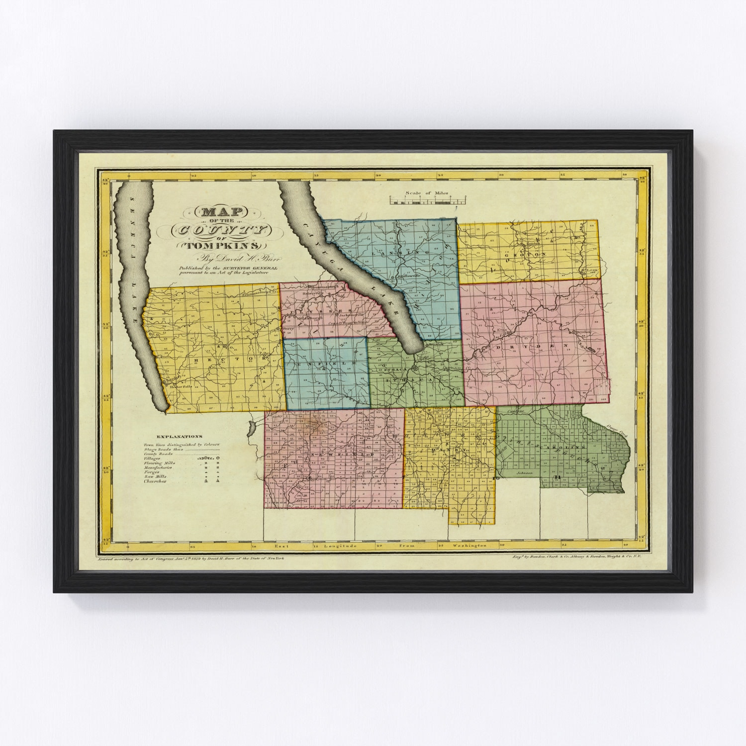Vintage Map of Tompkins County New York, 1829