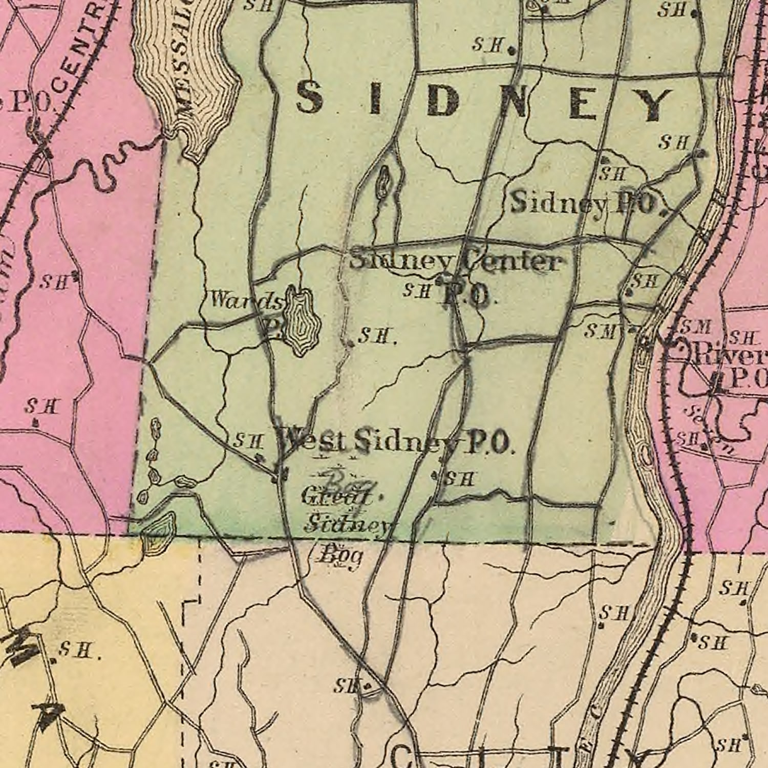 Vintage Map of Kennebec County Maine, 1885
