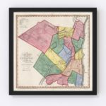 Vintage Map of Ulster County New York, 1840