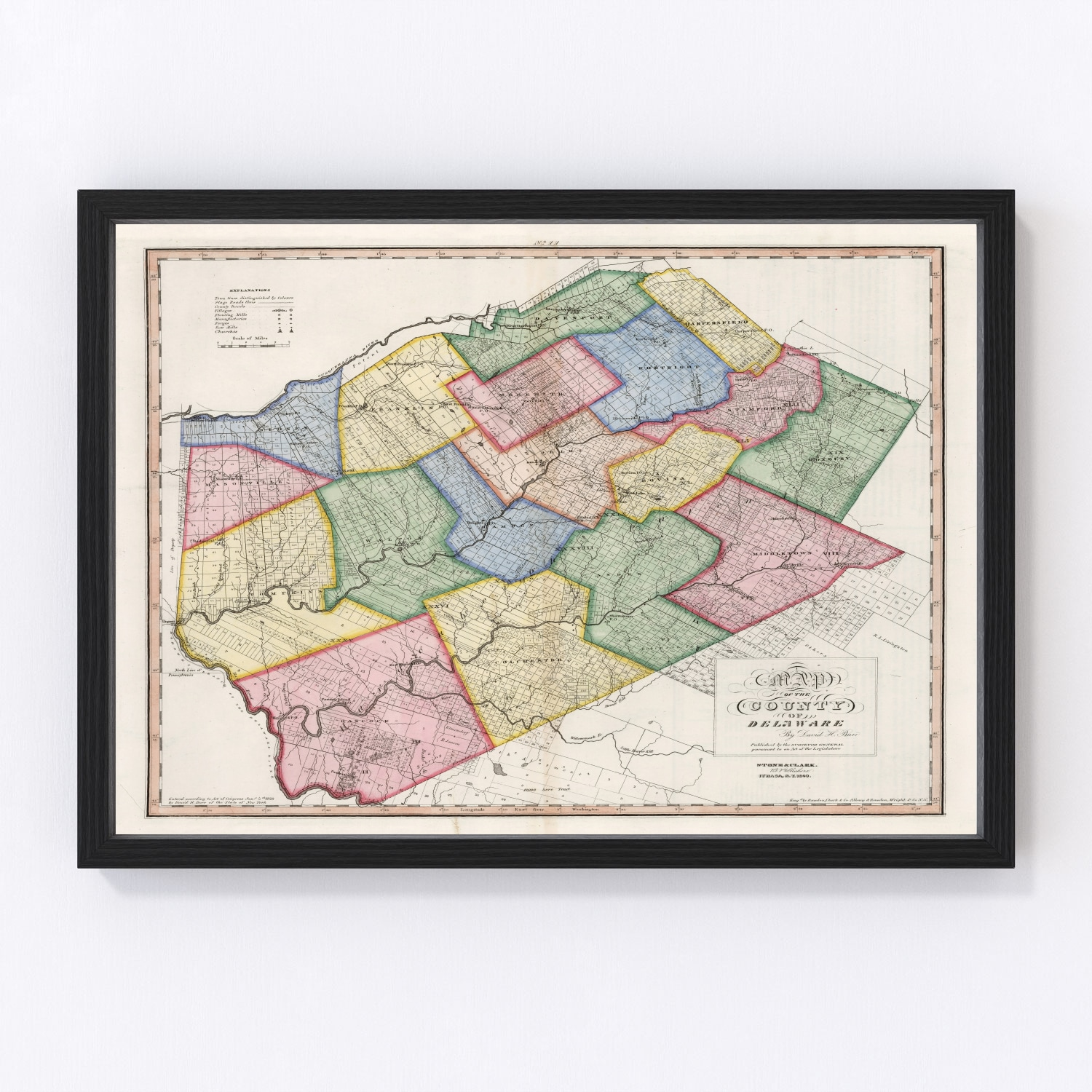 Vintage Map of Delaware County New York, 1840