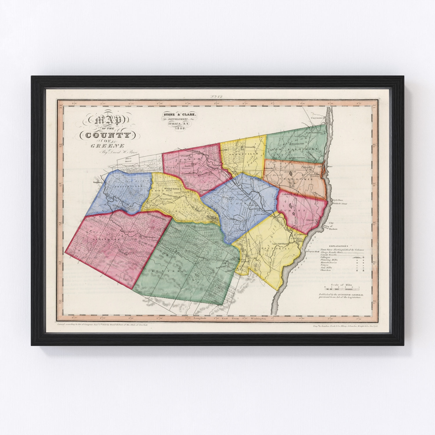 Vintage Map of Greene County New York, 1839
