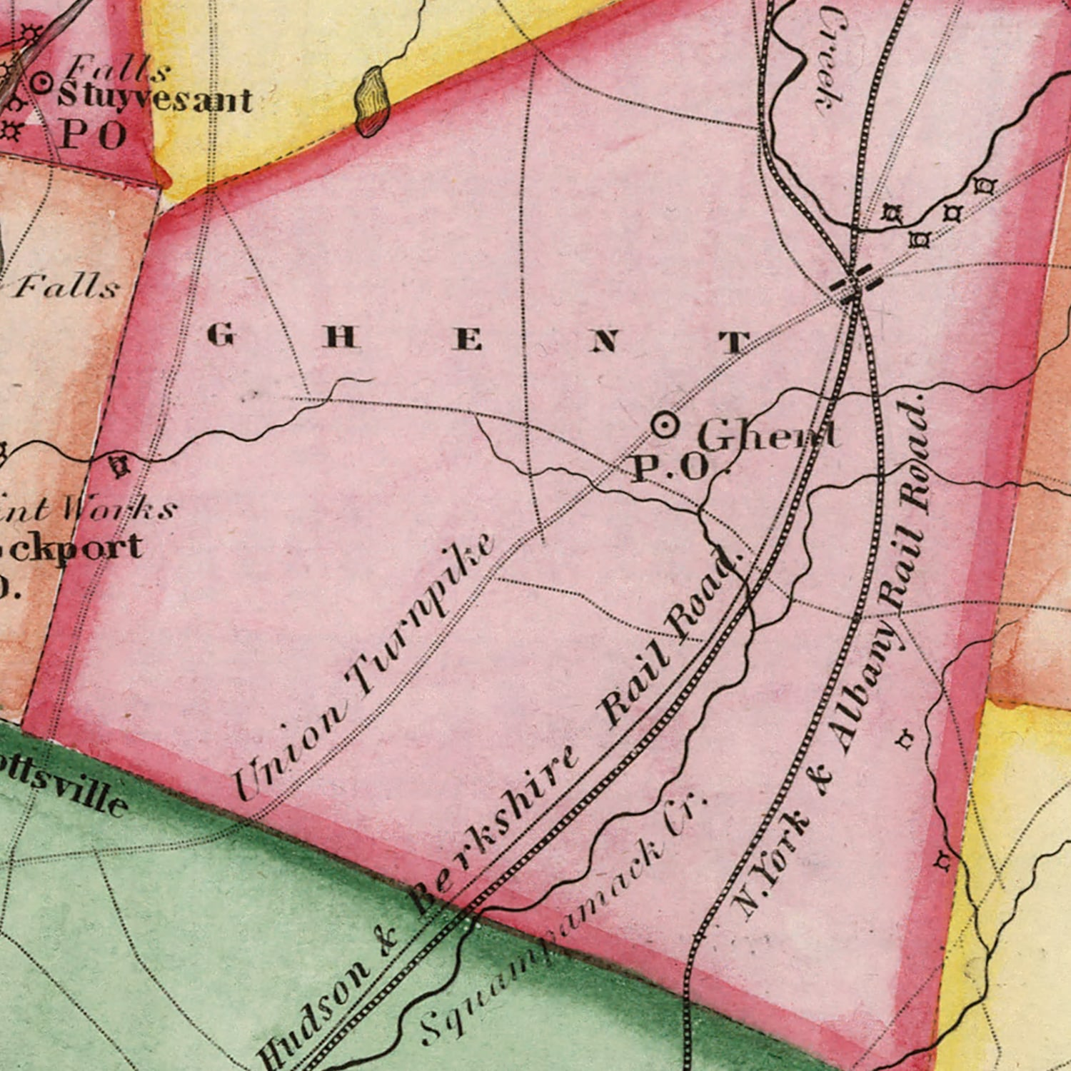 Vintage Map of Columbia County New York, 1839