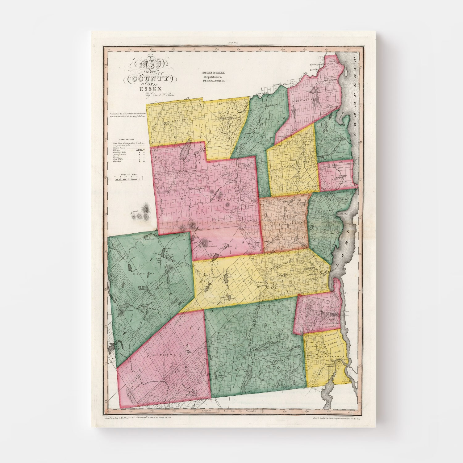 Vintage Map of Essex County New York, 1840