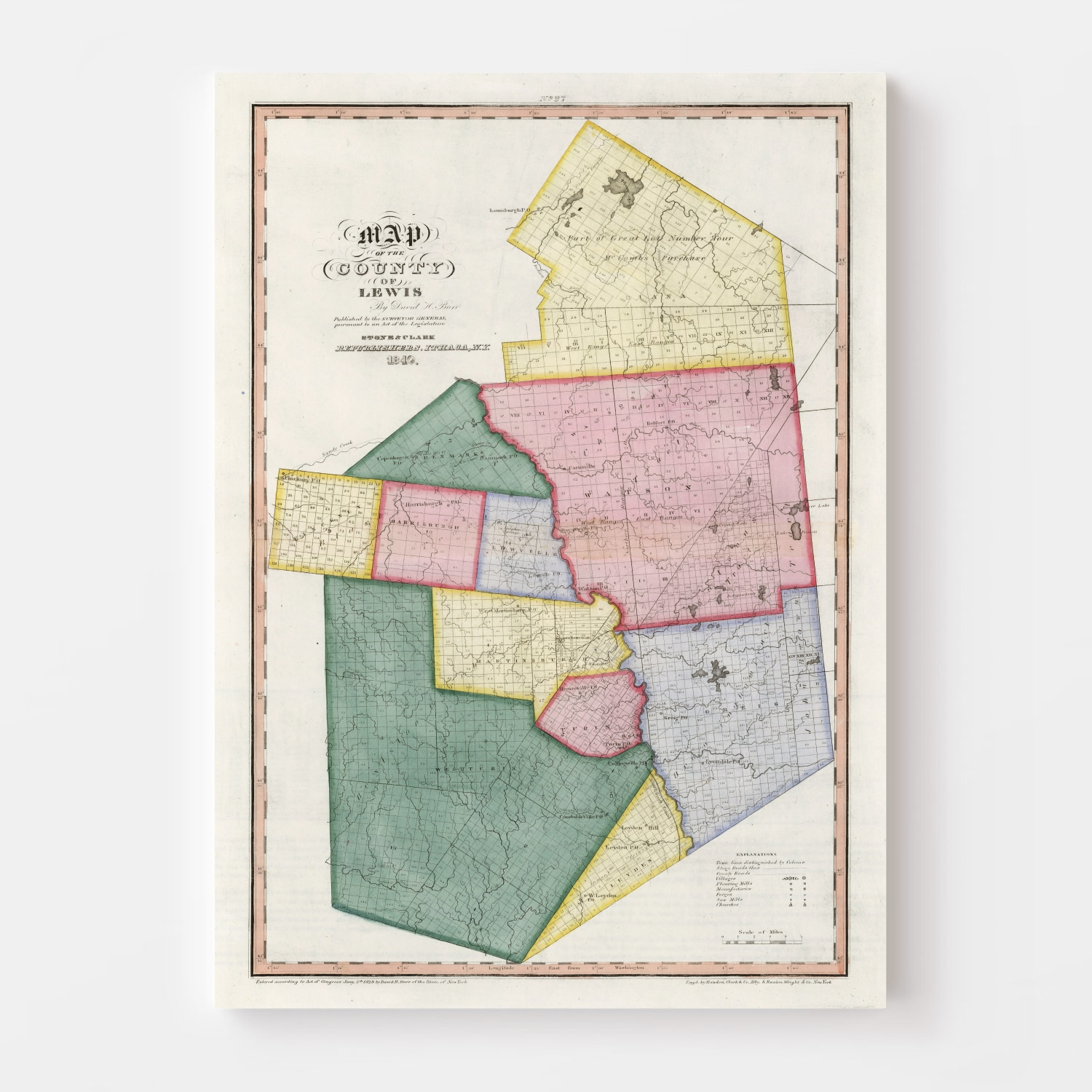 Vintage Map of Lewis County New York, 1840