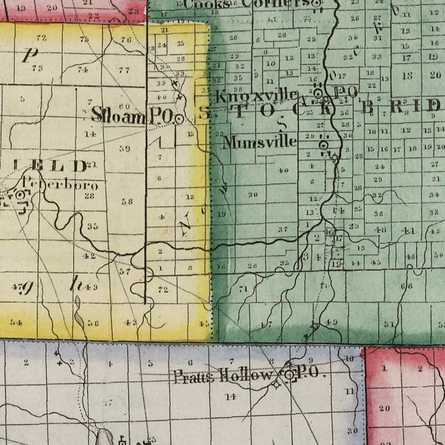 Vintage Map of Madison County New York, 1840