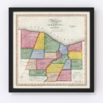 Vintage Map of Monroe County New York, 1840