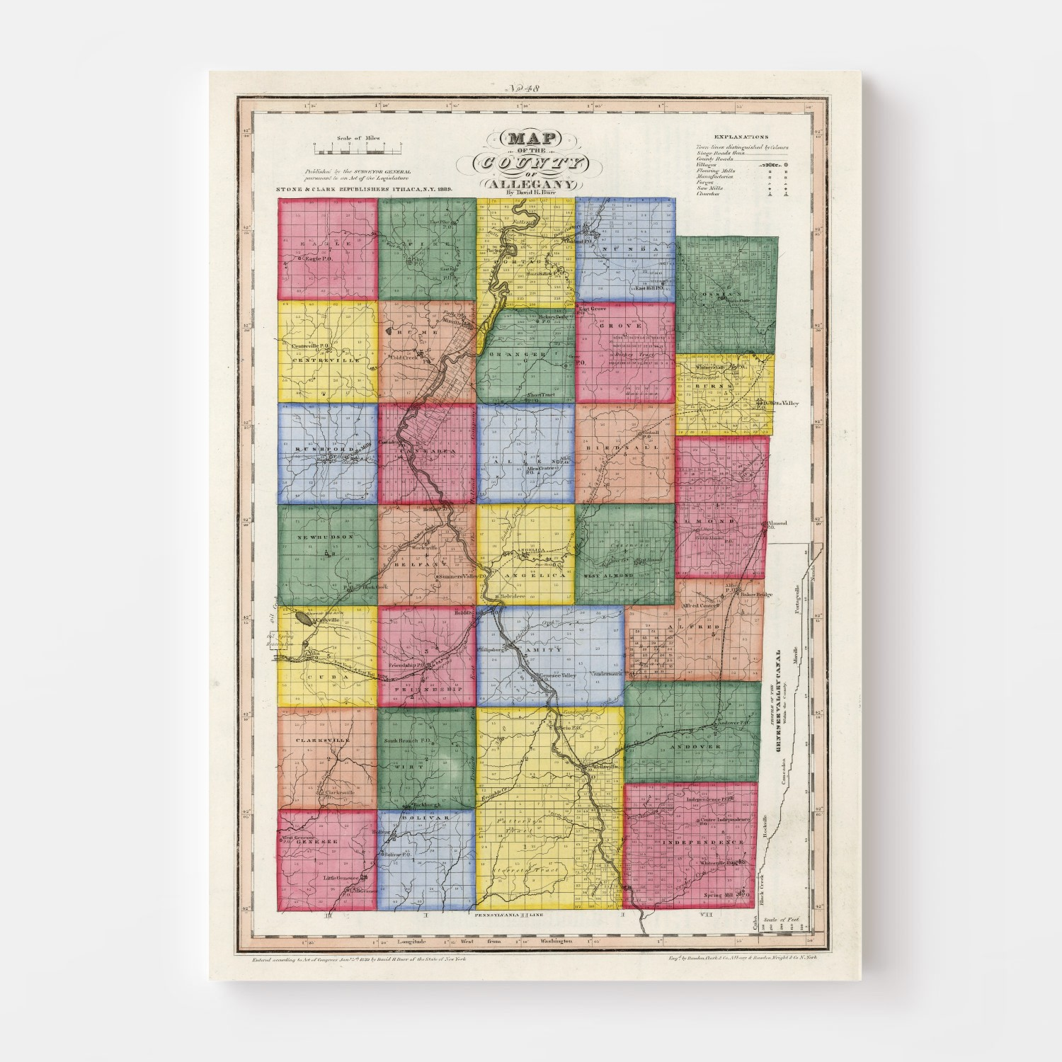 Vintage Map of Allegany County New York, 1840