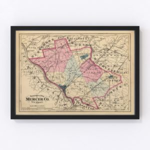 Vintage Map of Mercer County New Jersey, 1872