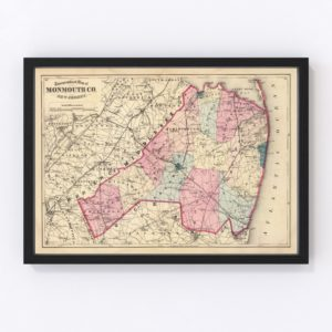 Vintage Map of Monmouth County New Jersey, 1872