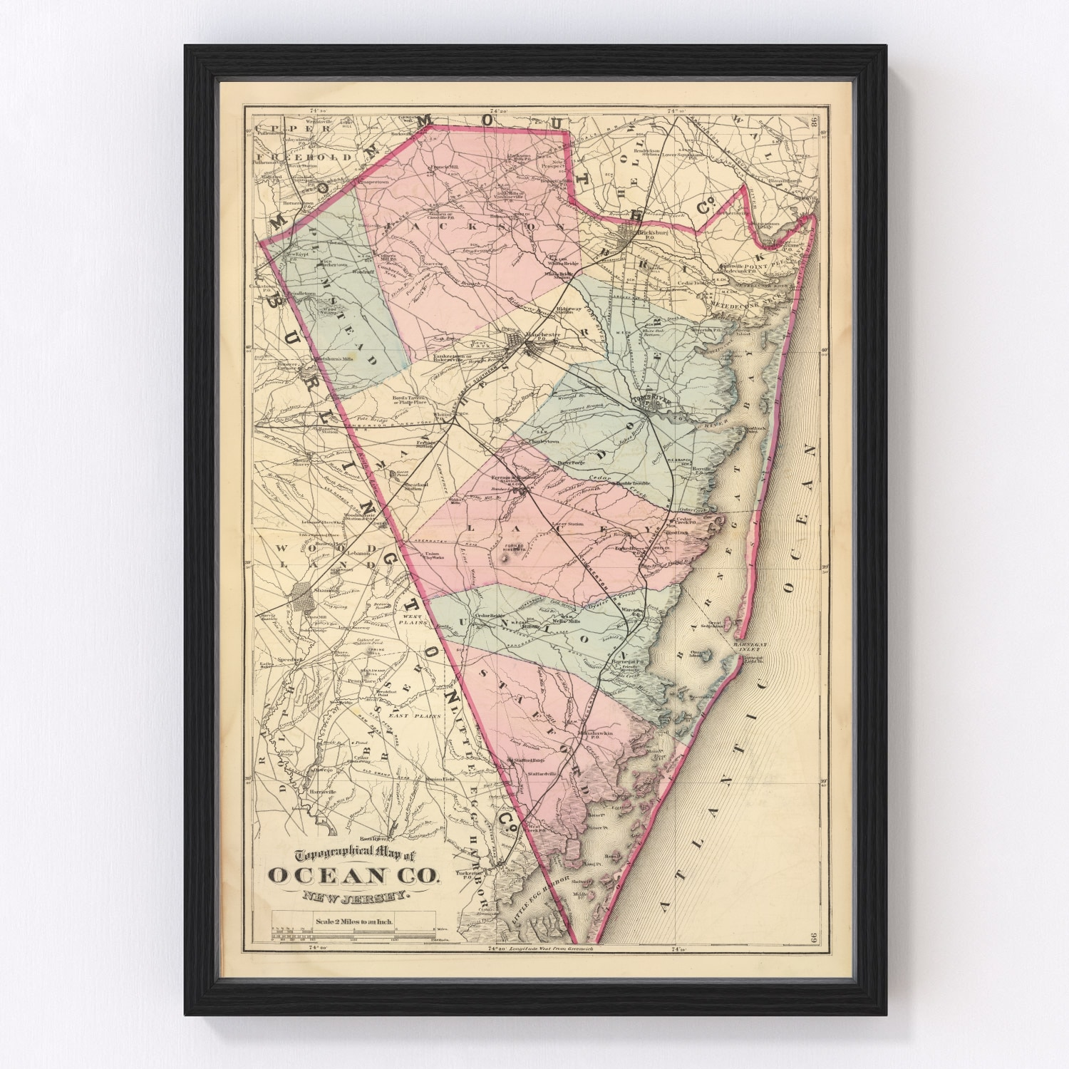 Vintage Map of Ocean County New Jersey, 1872