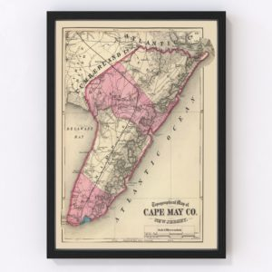 Vintage Map of Cape May County New Jersey, 1872