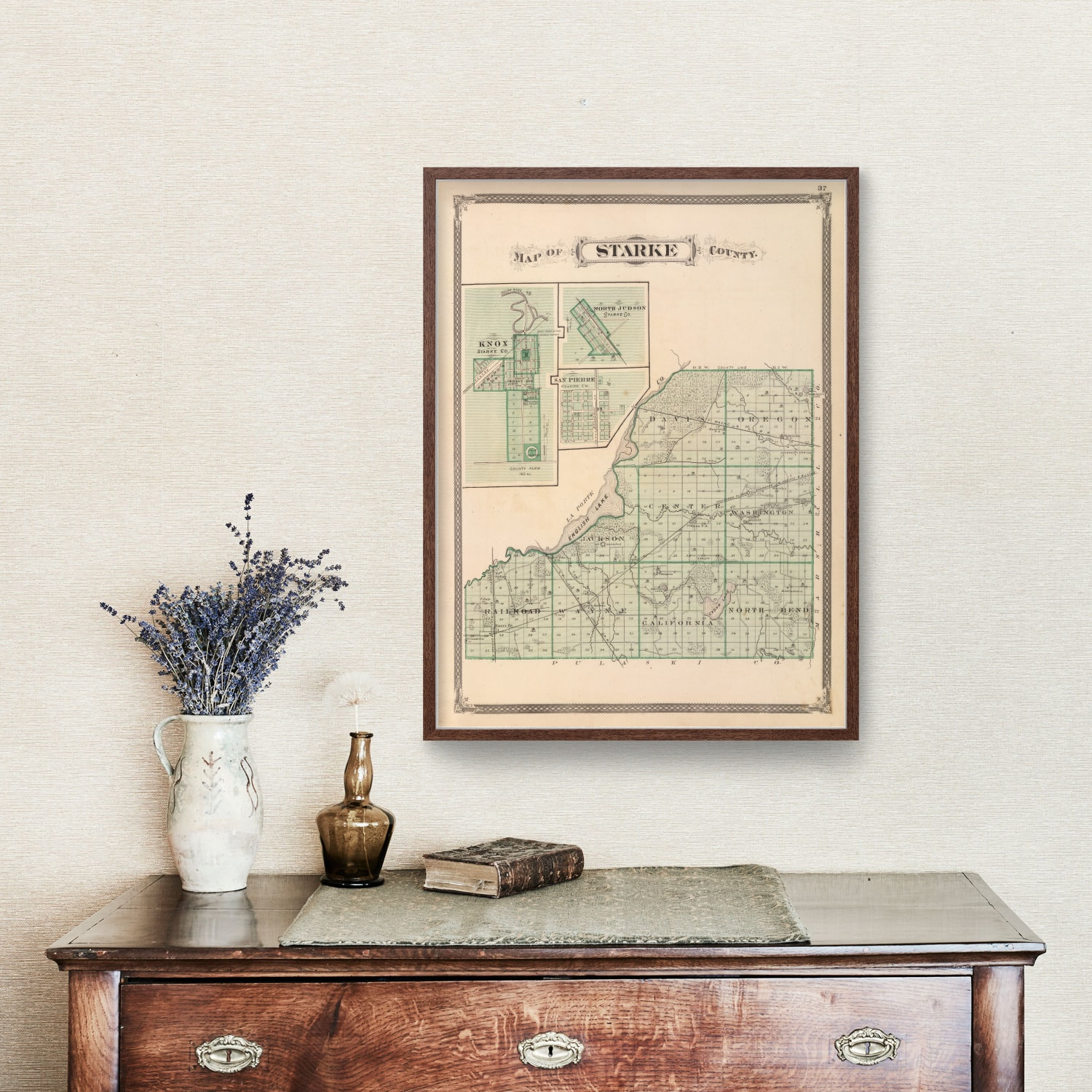 Vintage Map of Starke County Indiana, 1876