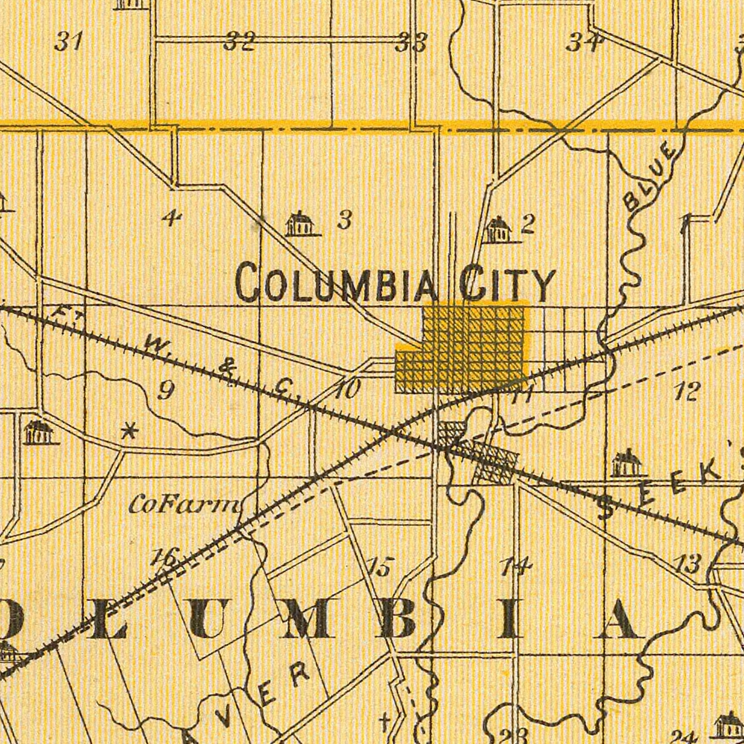 Vintage Map of Whitley County Indiana, 1876