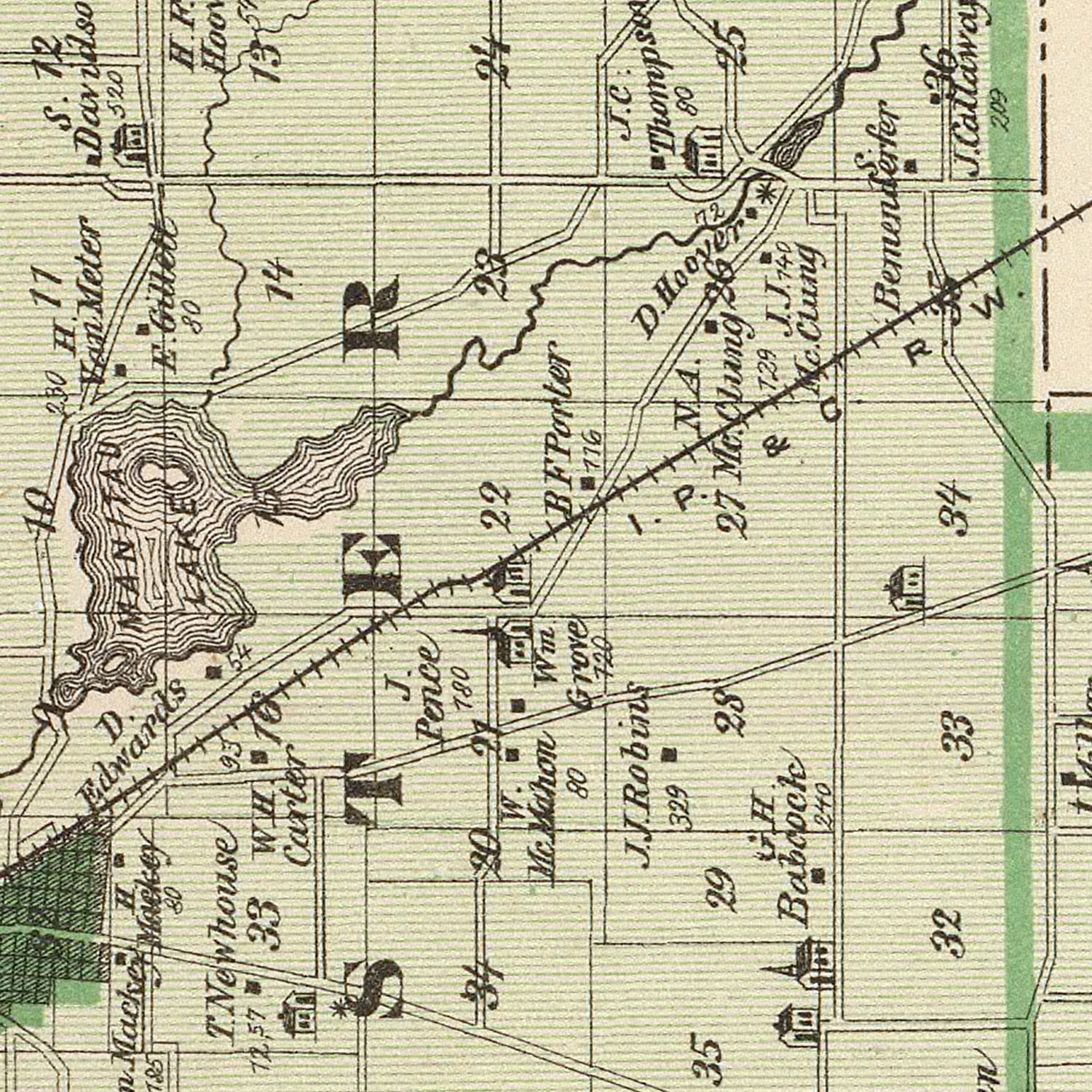 Vintage Map of Fulton County Indiana, 1876