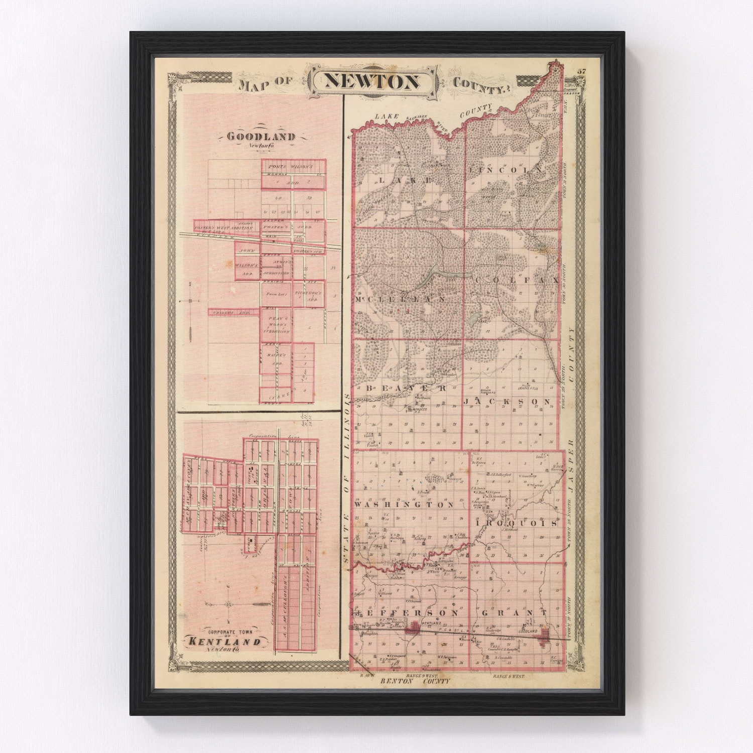 Vintage Map of Newton County Indiana, 1876