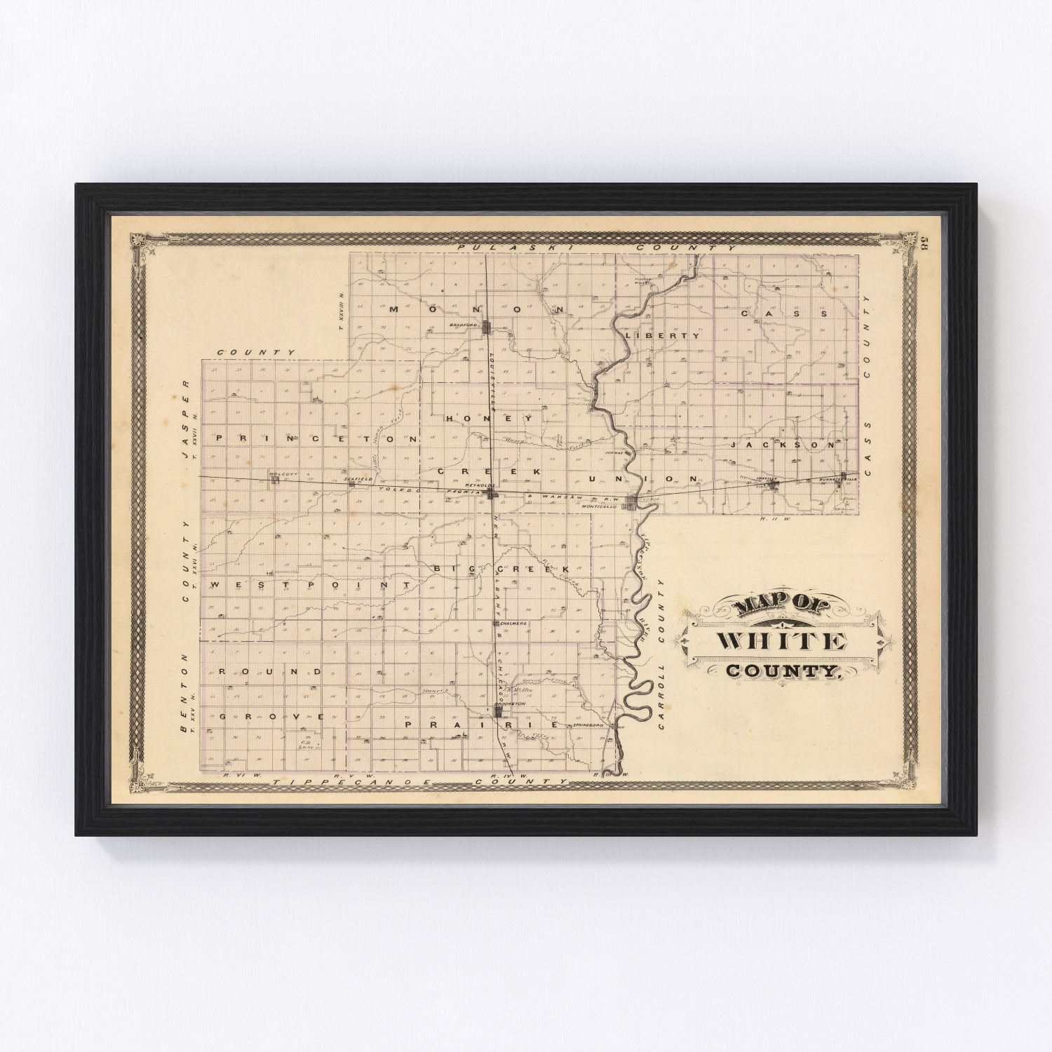 Vintage Map of White County Indiana, 1876