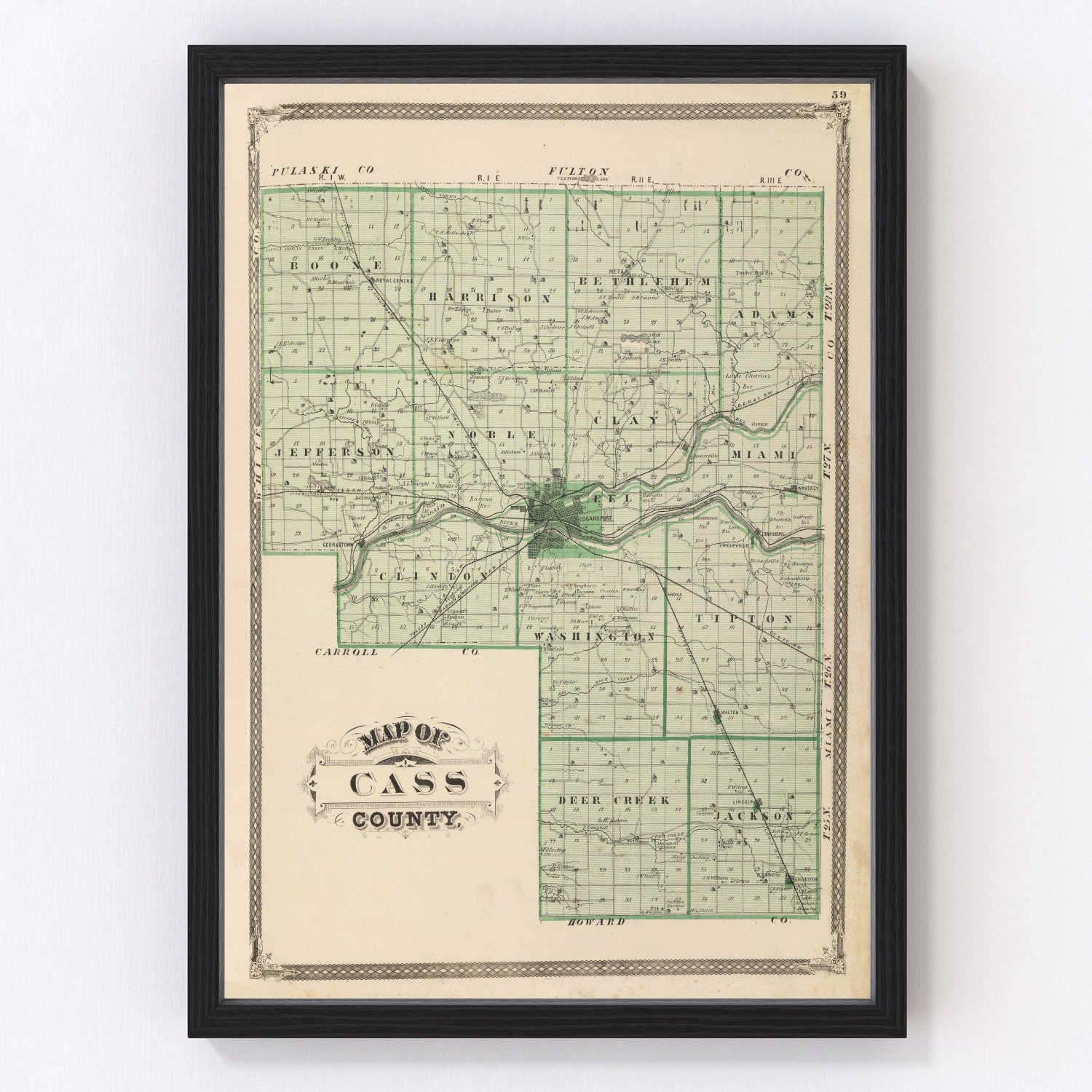 Vintage Map of Cass County Indiana, 1876