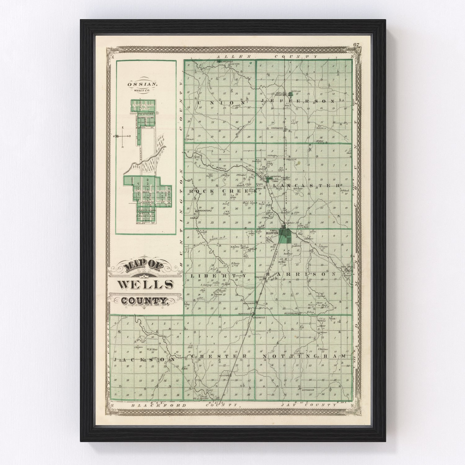 Vintage Map of Wells County Indiana, 1876