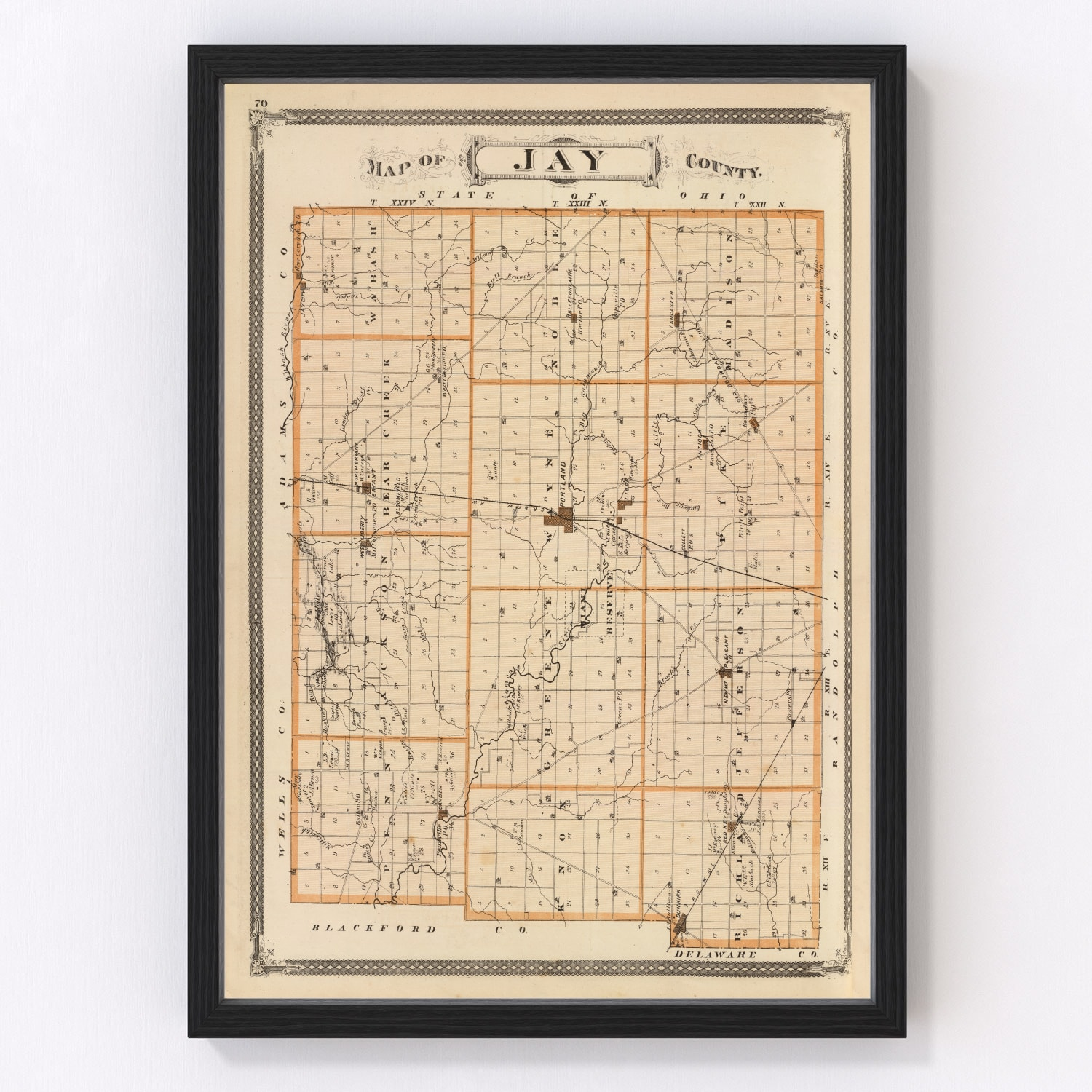 Vintage Map of Jay County Indiana, 1876