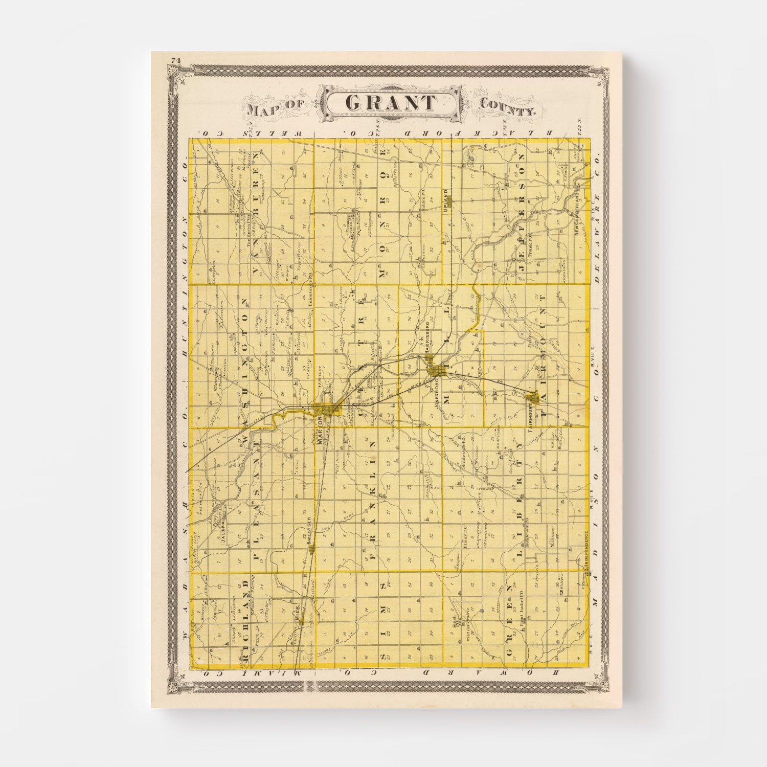 Vintage Map of Grant County Indiana, 1876