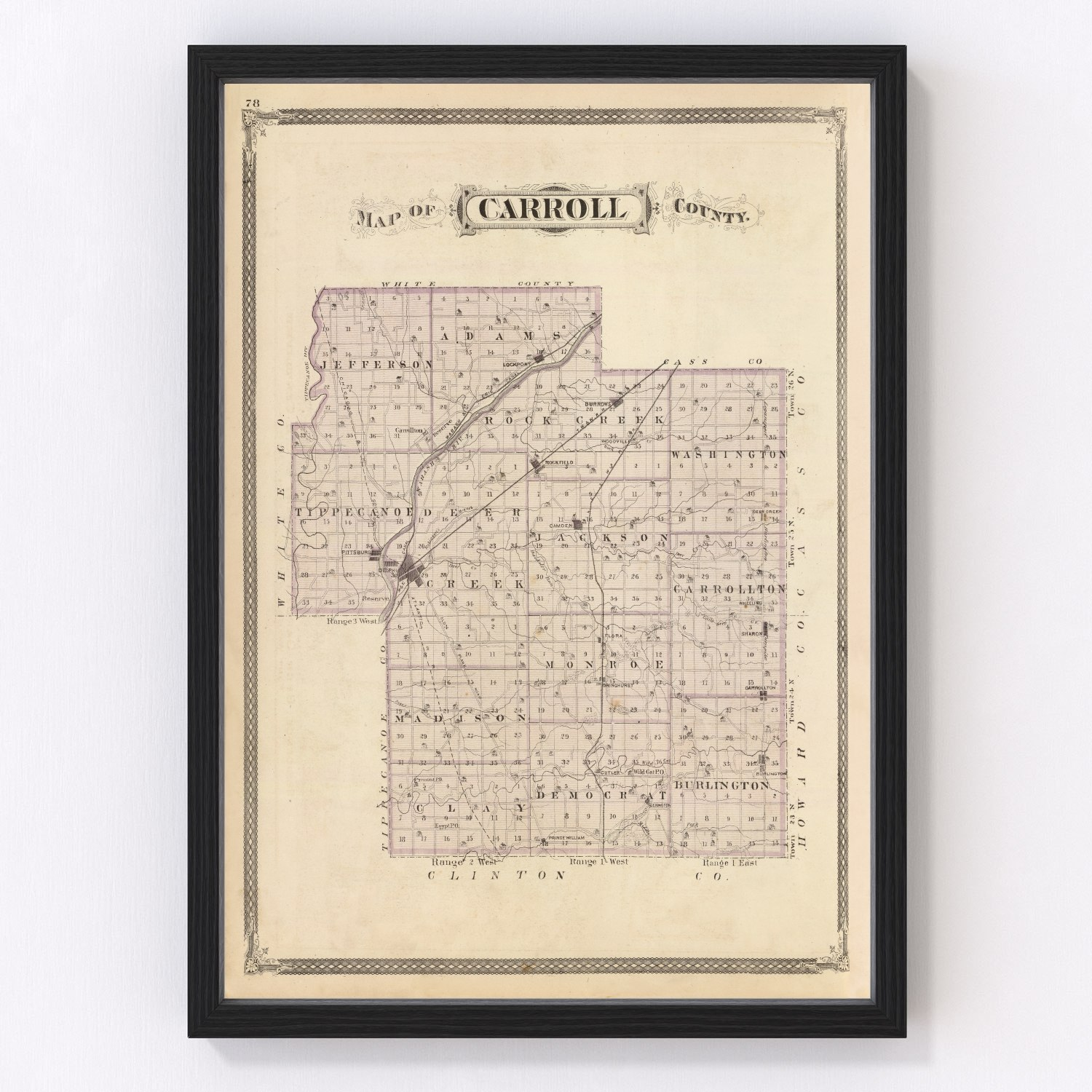 Vintage Map of Carroll County Indiana, 1876