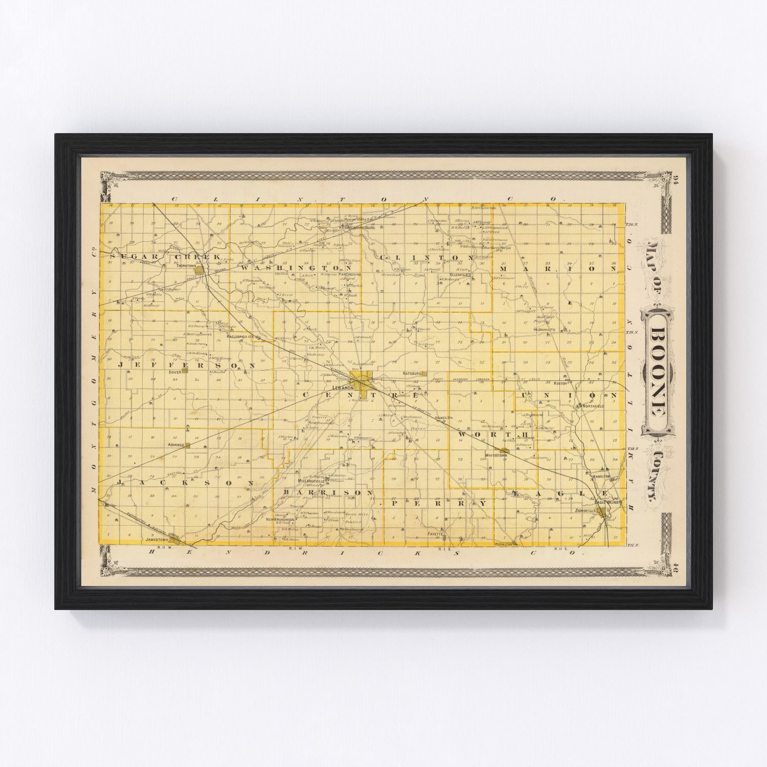 Vintage Map of Boone County Indiana, 1876