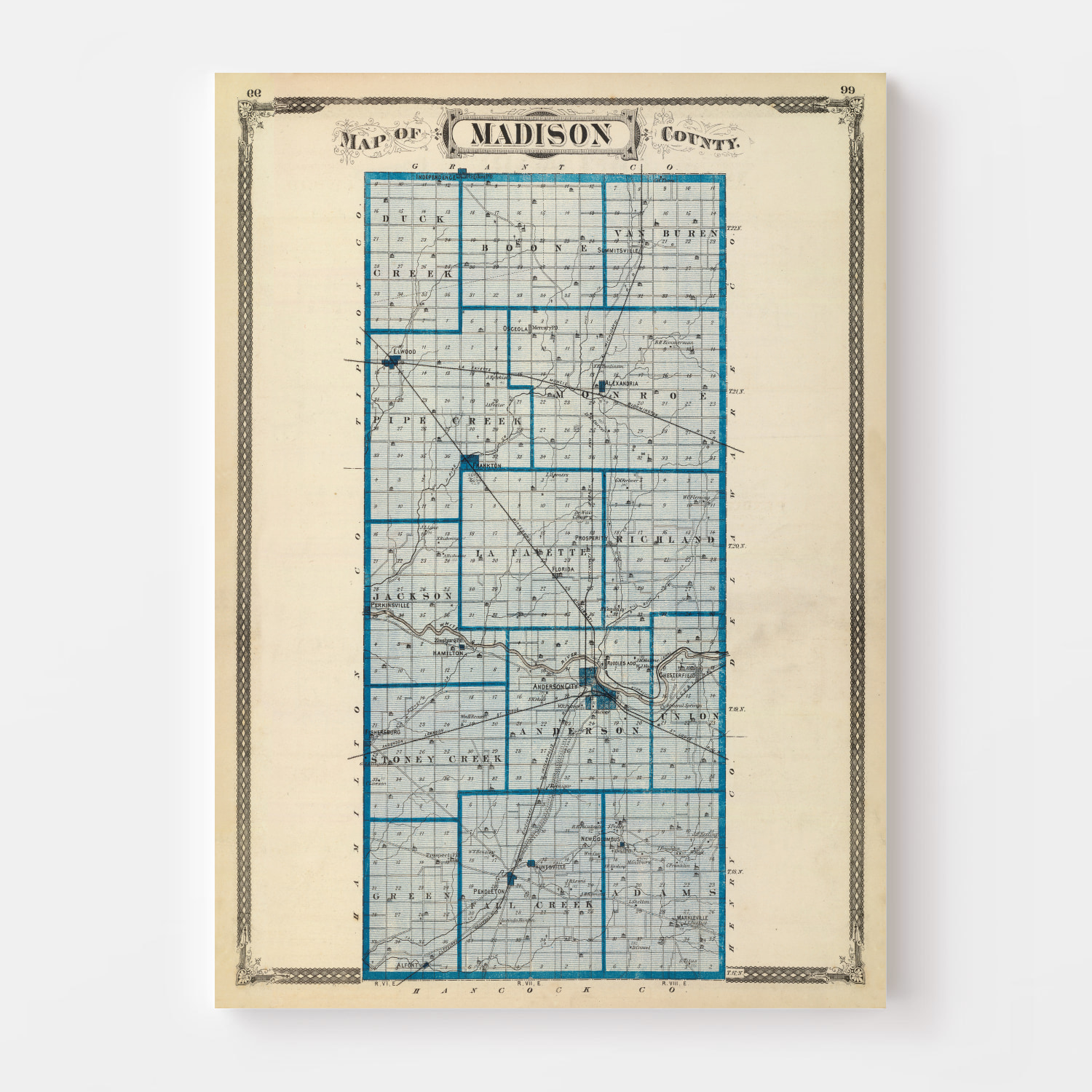 Vintage Map of Madison County Indiana, 1876