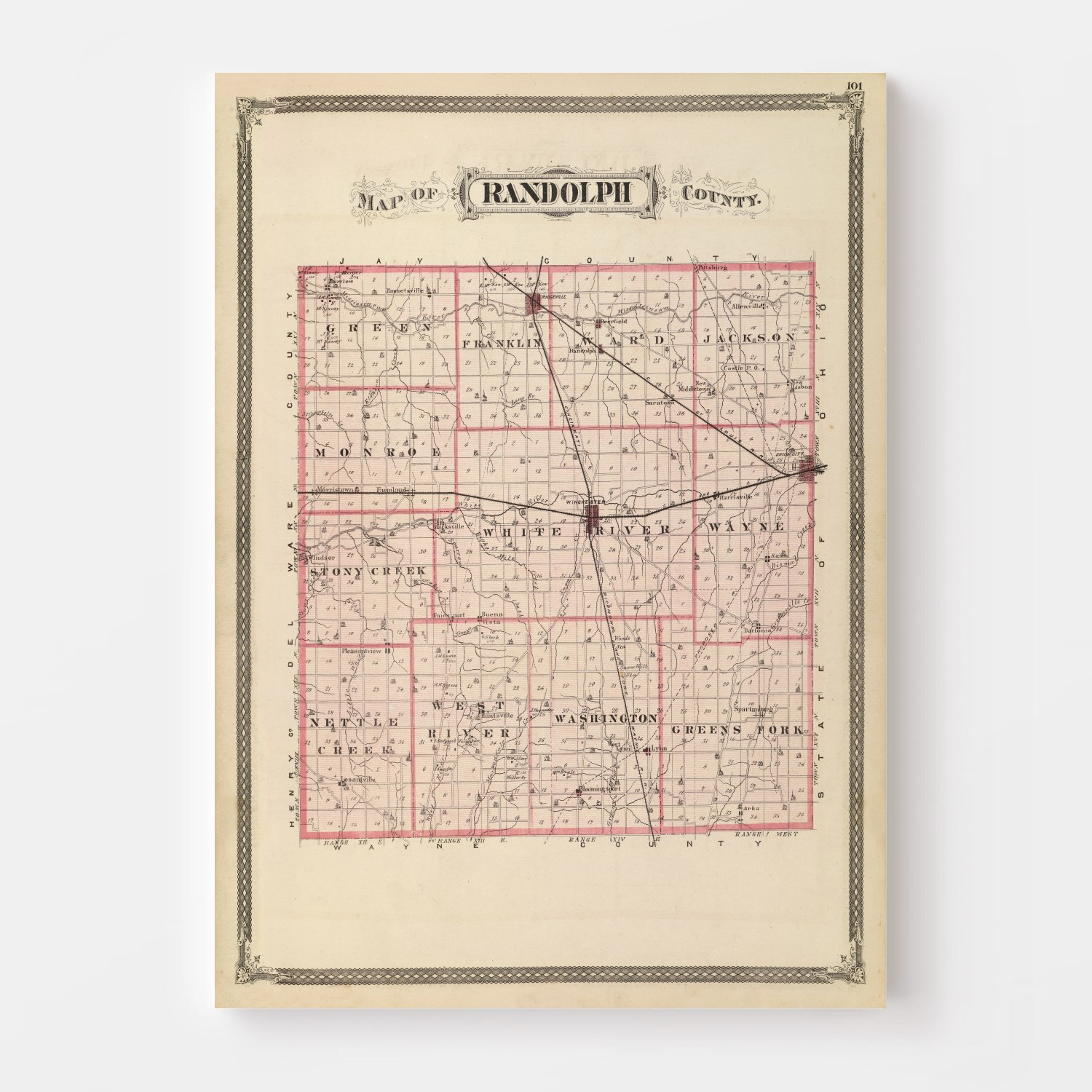 Vintage Map of Randolph County Indiana, 1876
