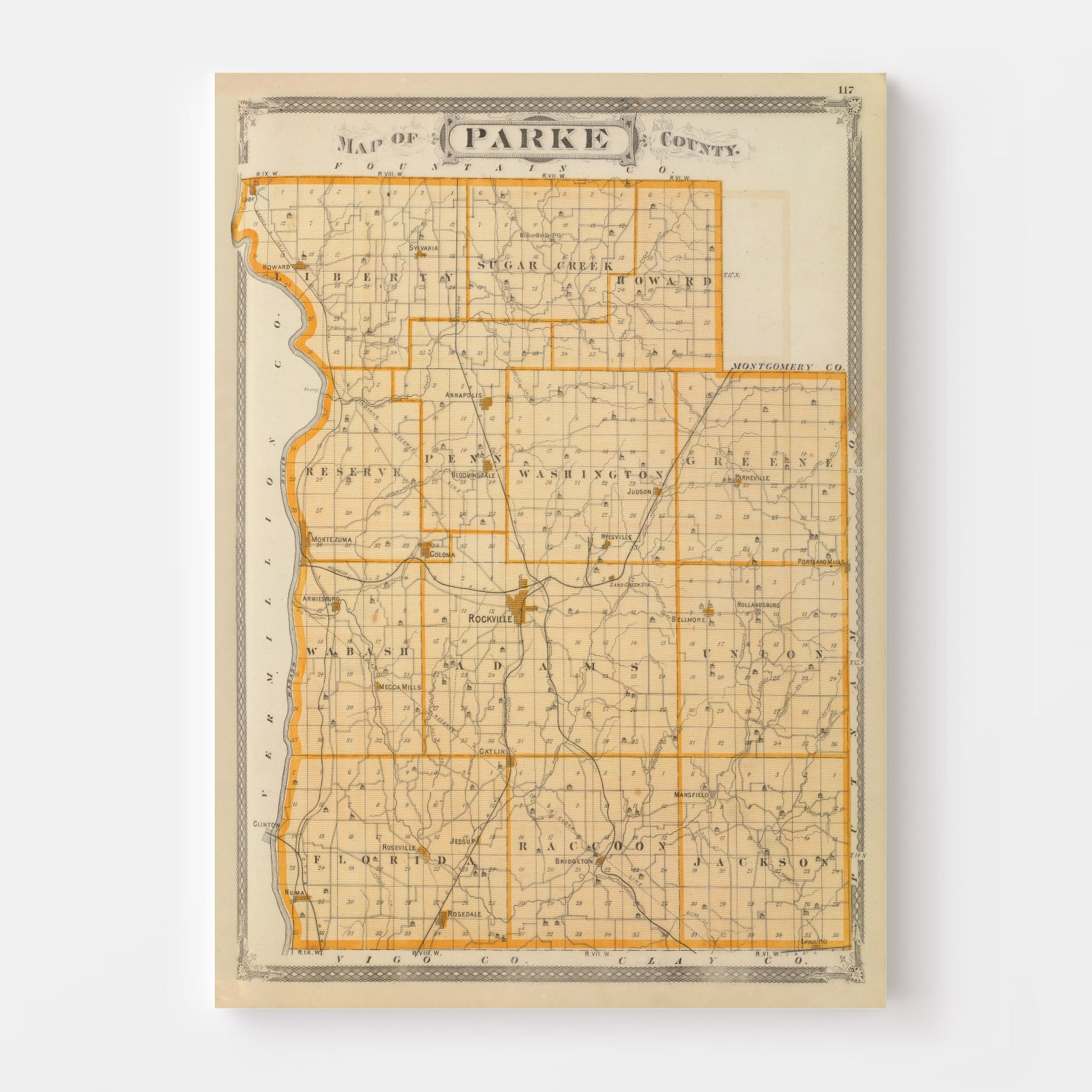Vintage Map of Parke County Indiana, 1876