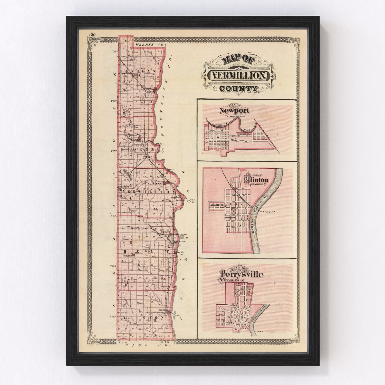 Vintage Map of Vermillion County Indiana, 1876