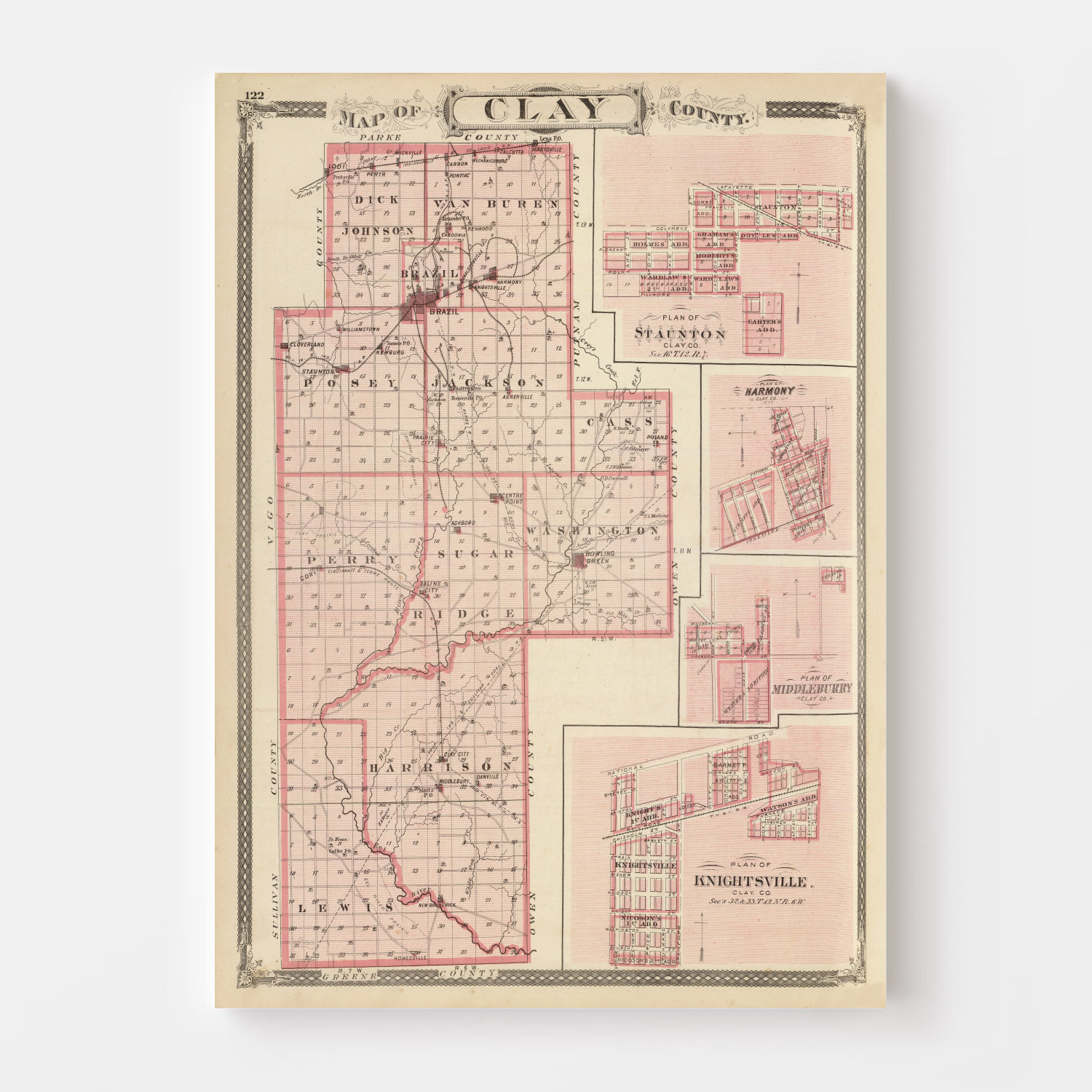 Vintage Map of Clay County Indiana, 1876