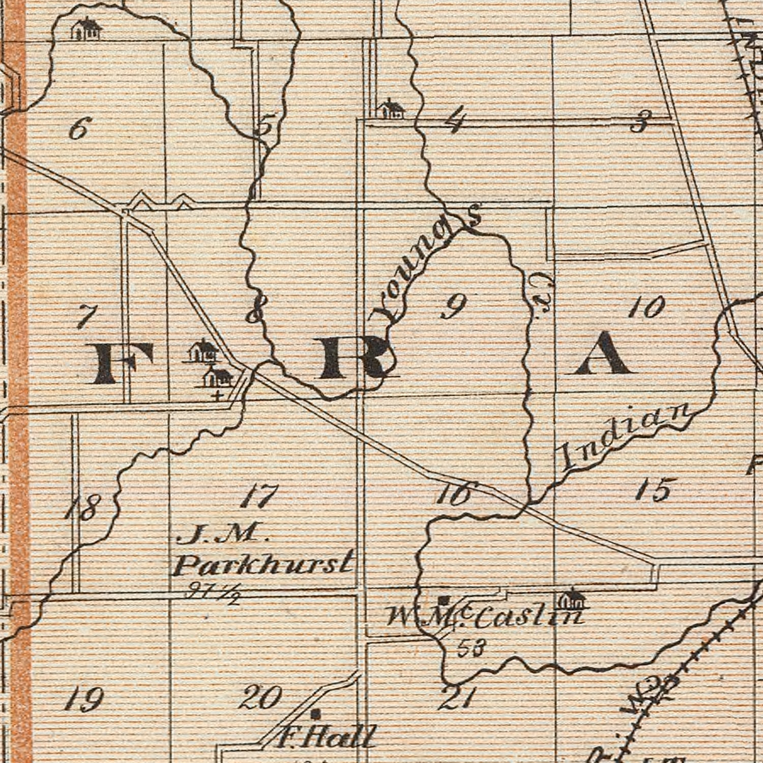 Vintage Map of Johnson County Indiana, 1876