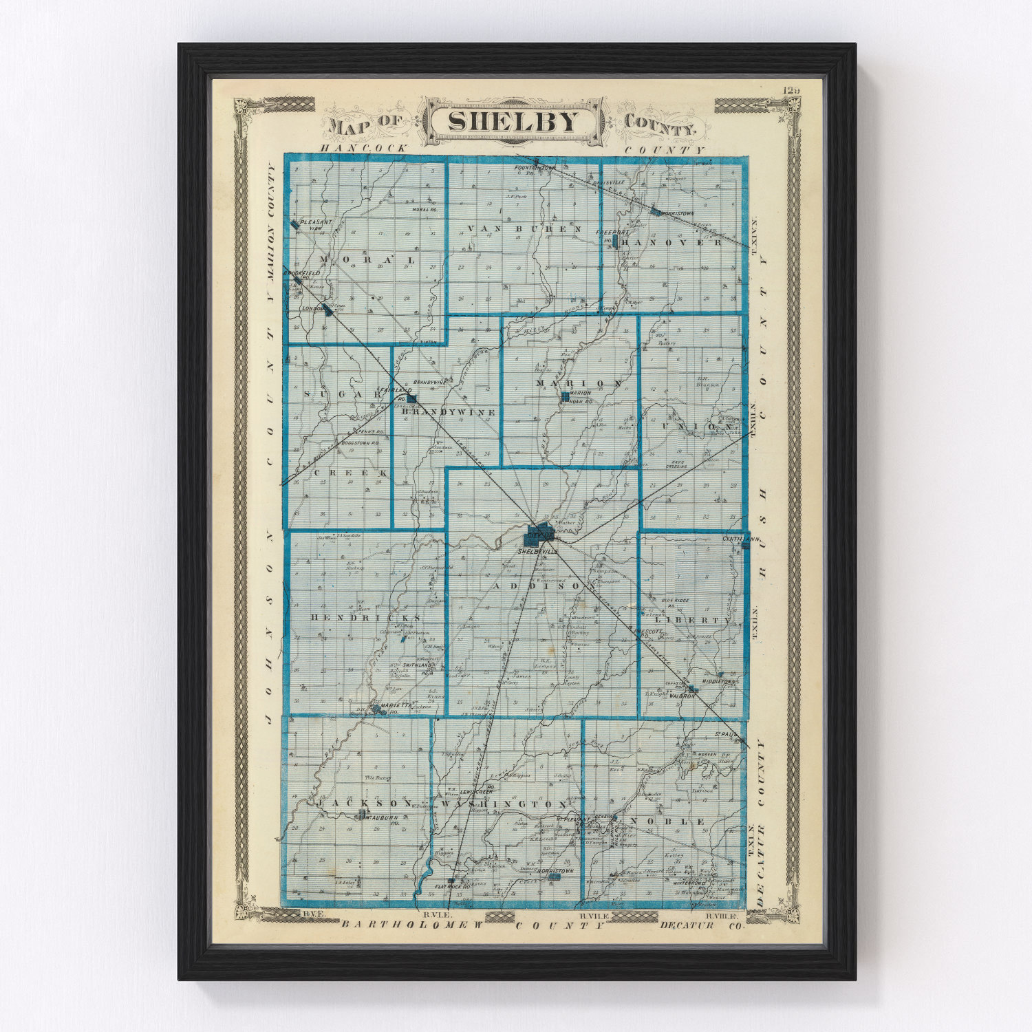 Vintage Map of Shelby County Indiana, 1876